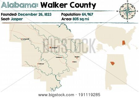 Large and detailed map of Walker County in Alabama.