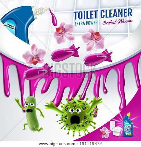 Orchid fragrance toilet cleaner ads. Cleaner bobs kill germs inside toilet bowl. Vector realistic illustration. Poster.