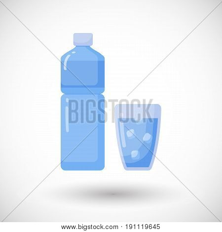 Bottle and glass of water vector flat icon Flat design of food health care of watering object with round shadow plastic water bottle illustration