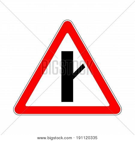 Illustration of Triangle Warning Sign. Priority Over Junction From Right