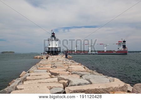 Portland MaineUSA - July 5 2016: Warenborg Ship near the Portland USA.Wagenborg Shipping Sweden AB works with the industry directly or via brokers and forwarders for all kind of shipments.
