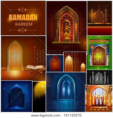 easy to edit vector illustration of Islamic design mosque door and window for Ramadan Kareem Happy Eid celebration background