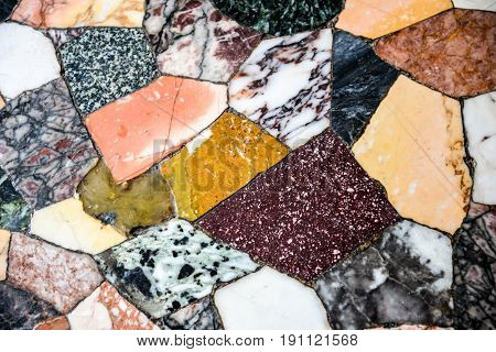 Antique stone tiles. Old colorful mosaic tile. Nice abstract textures background for design, prints, decorative elements, templates, interior. Mixed tangle. Marble stones design.