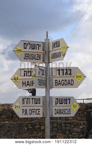 The distance indicator to cities on the border between Israel and Syria