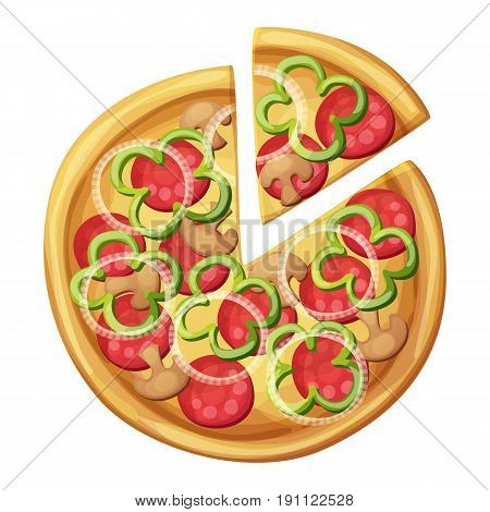 Pizza top view. Green sweet pepper, sausages or salami, mushrooms, white onion. Cartoon vector food illustration isolated on white background. American and Italian fast food pizza