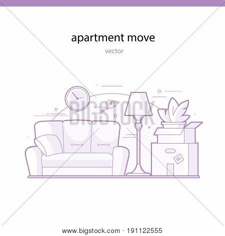Apartment move line vector illustration. Services of a freight company for transportation of an apartment