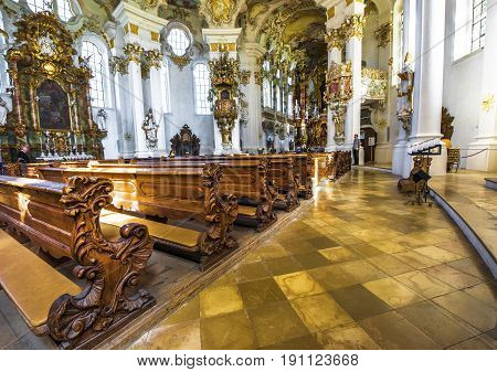 Steingaden, Germany - September 2016: places for prayers in White pilgrimage church