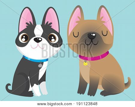 A black and white Boston Terrier and a fawn French Bulldog. Vector cartoon.