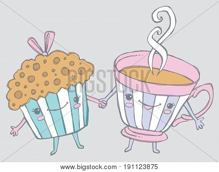 There's muffin I wouldn't do for you! Cartoon muffin holding hands with a cup of tea. Vector Illustration.