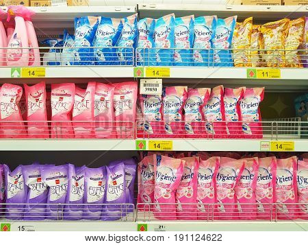 CHIANG RAI THAILAND - MAY 16 : various brand of fabric softener in packaging for sale on supermarket stand or shelf in Big C Supercenter on May 16 2017 in Chiang rai Thailand.