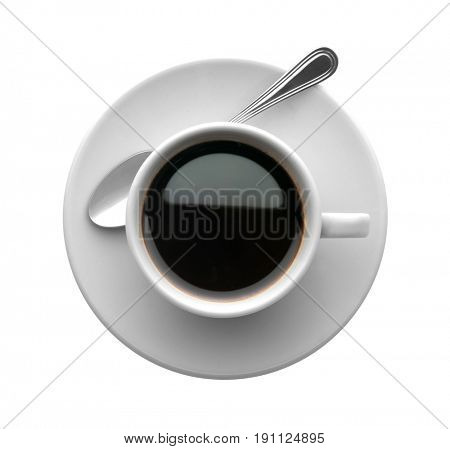 coffee cup with spoon, isolated on white