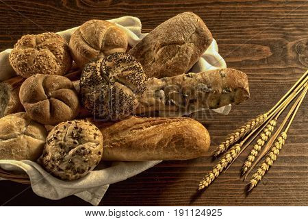 various kinds of bread in a basket