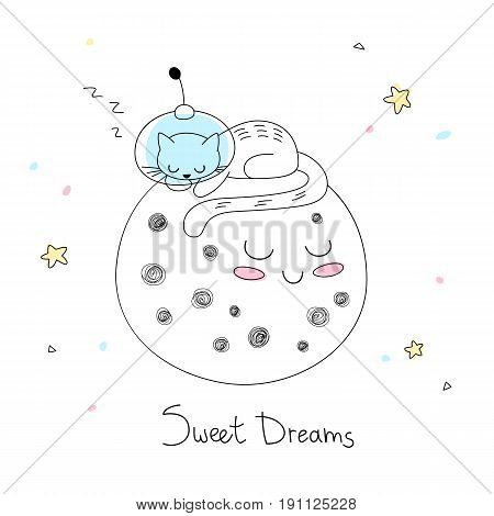 Nursery art: cute little hand-drawn cat in a space suite sleep on the surface of the moon.