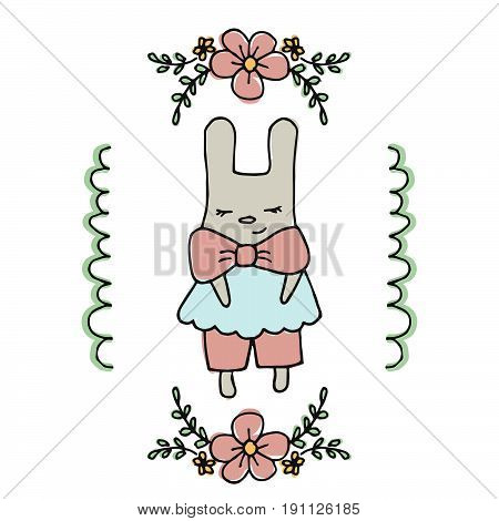 Cute little cartoon hare. Greeting card with cartoon hare.