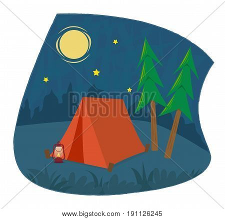 Clip art of a camping tent and a lantern under the night sky. Eps10