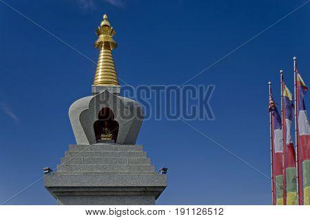 Upper  part of buddhistic monument stupa at Retreat Center Plana
