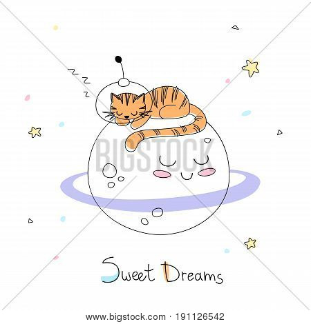 Nursery art: cute little hand-drawn tiger in a space suite sleep on the surface of adorable planet.