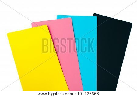 CMYK colors palette. Colour card with samples of paint