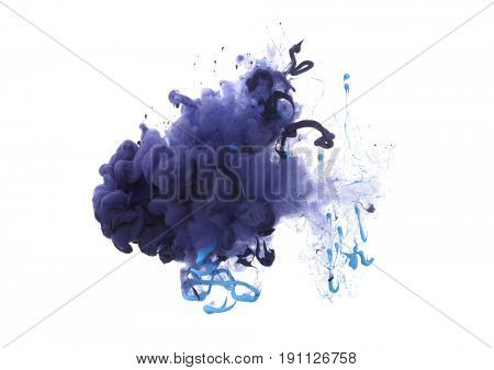 Acrylic colors in water. Ink blot. Abstract background. Isolation.