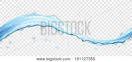 Water wave surface with bubbles. Realistic vector 3d illustration.