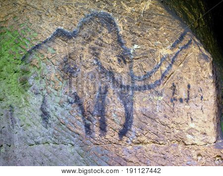 Cildren Art In Sandstone Cave. Black Carbon Mammoth Paint