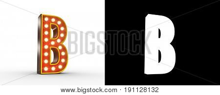 High quality 3D illustration of the letter B in vintage style with light bulbs illuminating it. Alpha Map included for easy isolation.