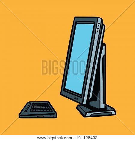 computer monitor and keyboard. Pop art retro vector illustration