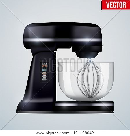 Black Stand Mixer. Food blender. Electronic Kitchen appliance. Realistic Original design. Concept of Health food and drink. Vector Illustration isolated on background.