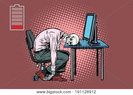 dead businessman skeleton at the computer. Pop art retro vector illustration