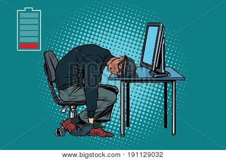 Sleeping African hacker at the computer. Pop art retro vector illustration