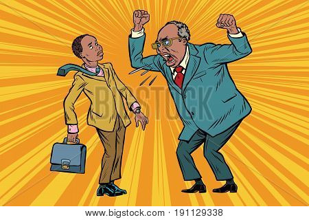 Boss scolds businessman. African American people. Conflicts at work. Pop art retro vector illustration