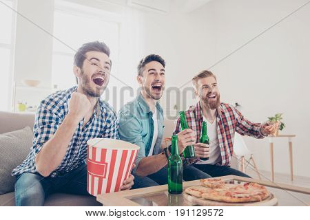 Yes! Winners! Goal! Cheerful Young Guys Are Watching Match On Couch At Home And Drink Beer, Eat Pizz