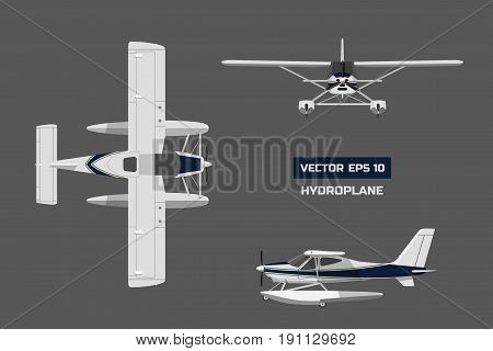 Plane in a flat style on a gray background. Cargo aircraft. Industrial drawing of hydroplane. Top, front and side view. Vector illustration
