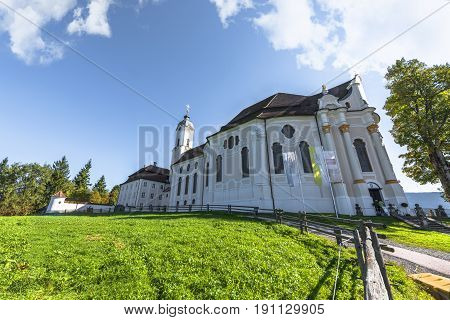 View on the White Pilgrimage church. Steingaden, Germany