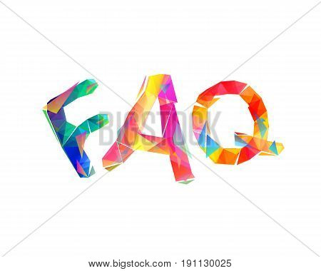 Faq. Triangular Colorful Letters