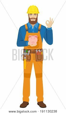 Worker with piggy bank showing a okay hand sign. Full length portrait of worker character in a flat style. Vector illustration.
