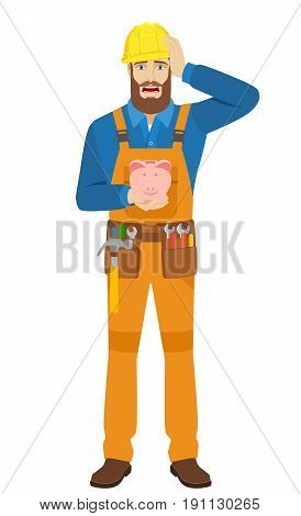 Worker with piggy bank grabbed his head. Full length portrait of worker character in a flat style. Vector illustration.