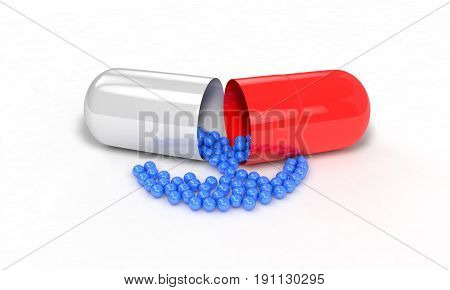 Substances In Pill On The White, 3D Render
