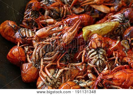 Portion Of Cooked Red Crawfish Platter Close Up