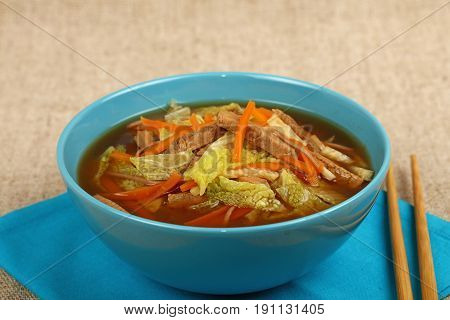 Asian Noodle Ramen Soup With Beef And Vegetables