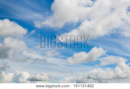 mixed clouds and blue sky telephoto skyscape