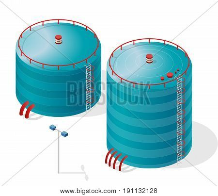 Water reservoir isometric building info graphic. Blue water reservoir. White water supply resource. Pictogram industrial chemistry cleaner set with blue details. Flatten isolated master vector icon.