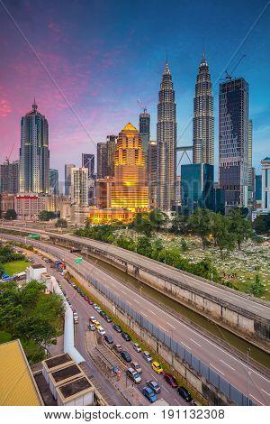 Kuala Lumpur. Cityscape image of Kuala Lumpur, Malaysia during twilight blue hour.