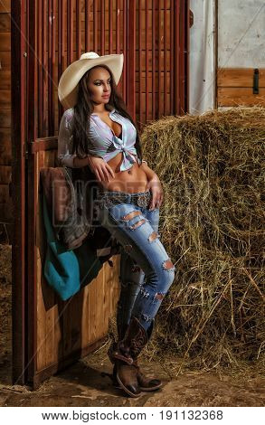 A sexy girl is standing in a stables dressed in a cowboy hat, cowboy boots and torn jeans