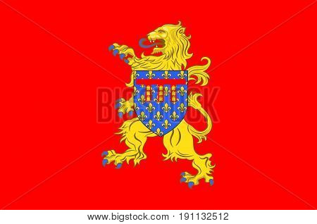 Flag of Arras is the capital of the Pas-de-Calais department which forms part of the region of Hauts-de-France. Vector illustration