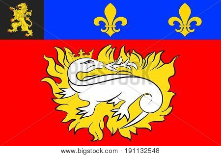 Flag of Le Havre is an urban French commune and city in the Seine-Maritime department in the Normandy region of northwestern France. Vector illustration