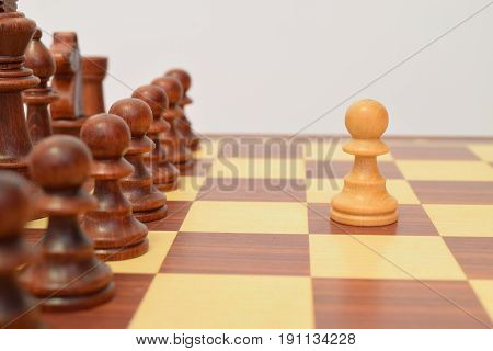 White Pawn In Front Of The Black Lining