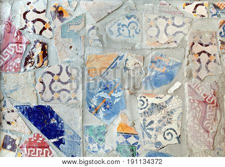 Tile Texture Background With Various Mixed Decorations