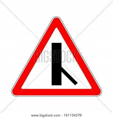 Illustration of Triangle Warning Sign. Priority Over Junction From Right on White