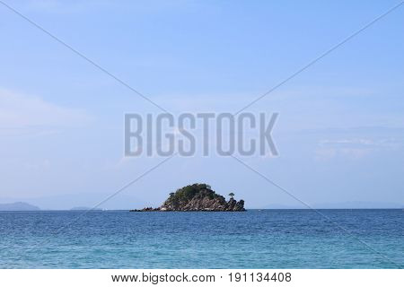 Island in Andaman sea. Sea and sky in Thailand
